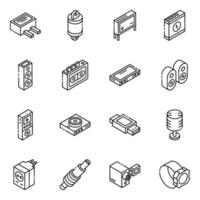 Auto Parts and Multimedia isometric icon set vector