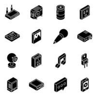 multimedia y elementos isométricos conjunto de iconos vector