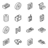 Electronics and  Devices isometric icon set vector
