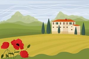 Tuscany landscape. Vector illustration in flat style