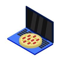 comprar pizza en línea isométrica en la computadora portátil vector