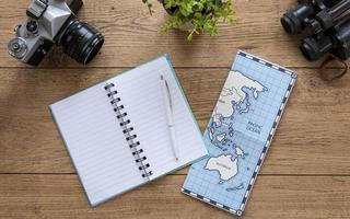 Map and journal on wood desk photo