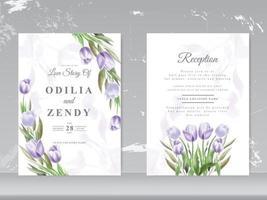 hermosa tarjeta de boda de acuarela de tulipán vector