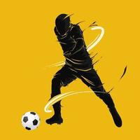 football soccer ball posing dark flame silhouette vector