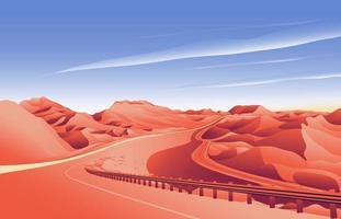 fondo del paisaje del camino de la colina del desierto vector
