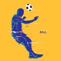 football soccer heading ball silhouette vector