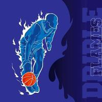 basketball dribble flame background vector