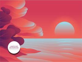 pink landscape background vector