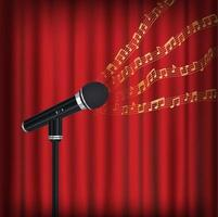microphone with floating sample random music note not matching any song on stage vector