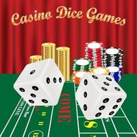 dice games with white dices and casino chips vector