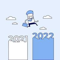 Masked businessman jumping from 2021 to 2022. Cartoon character thin line style vector. vector