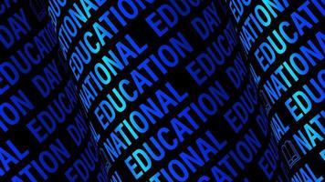 bucle del día nacional de la educación con patrón de rueda de texto azul video