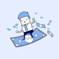 empresario montando surf dinero volador. vector de estilo de línea fina de personaje de dibujos animados.