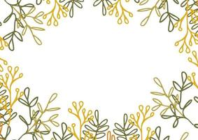 Floral border frame card template. Background with copy space for text. vector