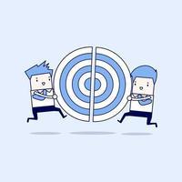 dos hombres de negocios corriendo y empujando un objetivo. vector de estilo de línea fina de personaje de dibujos animados.