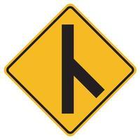 Señales de advertencia sesgado cruce de carreteras laterales a la derecha sobre fondo blanco. vector