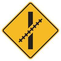 Señales de advertencia paso a nivel ferroviario en un ángulo oblicuo sobre fondo blanco. vector