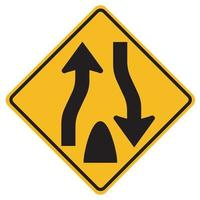 Señales de advertencia carretera dividida comienza sobre fondo blanco. vector