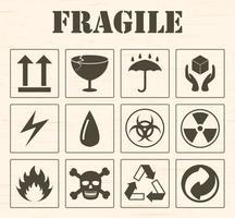 fragile logo icon set vector