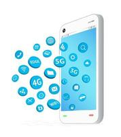 smartphone with connection apps icon floating vector