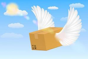 delivery corrugated carton box with flying bird wings vector