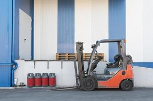 Logistic center with forklift photo