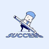 empresario con lápiz escribiendo texto de éxito en el suelo. vector de estilo de línea fina de personaje de dibujos animados.