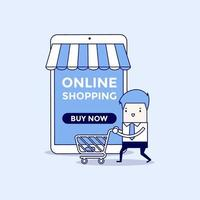 Businessman with shopping cart in front of a online store. Cartoon character thin line style vector. vector