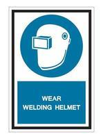 Symbol Wear Welding Helmet Isolate On White Background vector