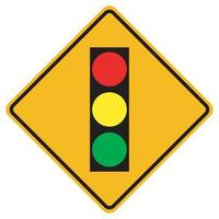 Warning signs Traffic lights ahead on white background vector