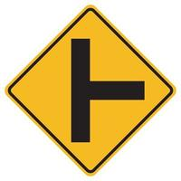 Señales de advertencia cruce de carreteras laterales a la derecha sobre fondo blanco. vector