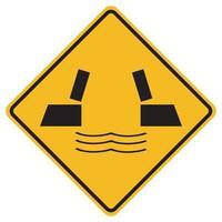 Señales de advertencia puente de apertura sobre fondo blanco. vector