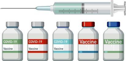 Frascos de vacuna y jeringa sobre fondo blanco. vector