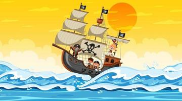 Ocean with Pirate ship at sunset scene in cartoon style vector