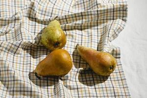Pears on picnic blanket photo