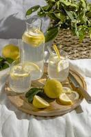 Lemon water on picnic blanket photo