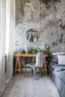Room interior design with desk photo