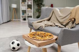 Pizza in the living room photo