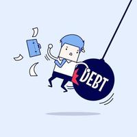 Businessman getting pushed by huge pendulum with message debt. Cartoon character thin line style vector. vector