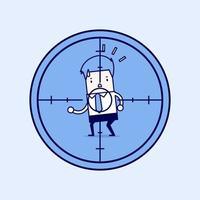 hombre de negocios en la mira. vector de estilo de línea fina de personaje de dibujos animados.
