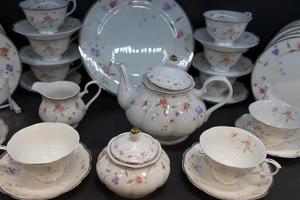 porcelain tea and white dining set photo