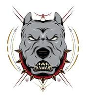 Angry pit bull with ornament vector
