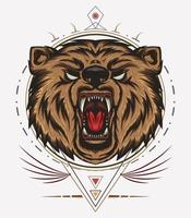 angry bear mascot with ornament vector