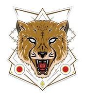 cheetah design emblem with ornament vector