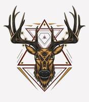 diseño de arte vectorial de ciervos con adorno vector