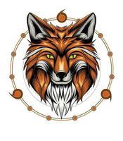Ilustración de cabeza de zorro con fondo de geometría sagrada vector