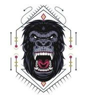 Angry gorilla illustration with ornament vector