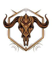 Goat head skull with ornament vector