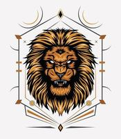 cabeza de león con símbolo sagrado vector