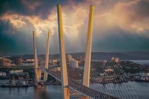 Golden bridge is a landmark of the city photo